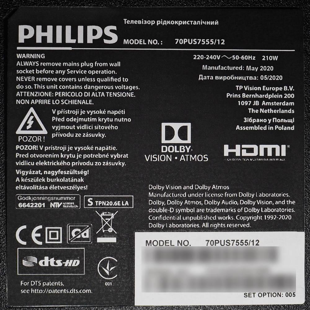 plakietka informująca o wersji telewizora
