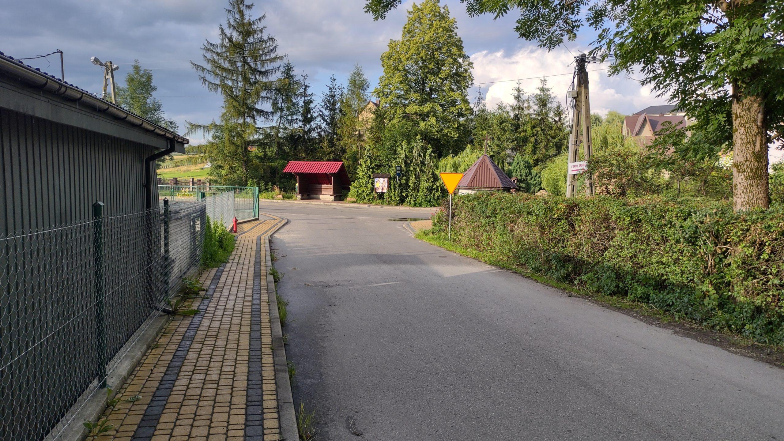 droga, żywopłot, przystanek, barak zdjęcie wykonane motorolą edge