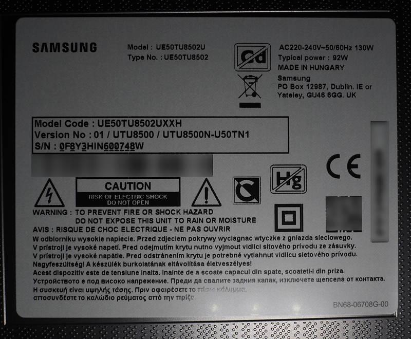 plakietka telewizora samsung 50tu8502u