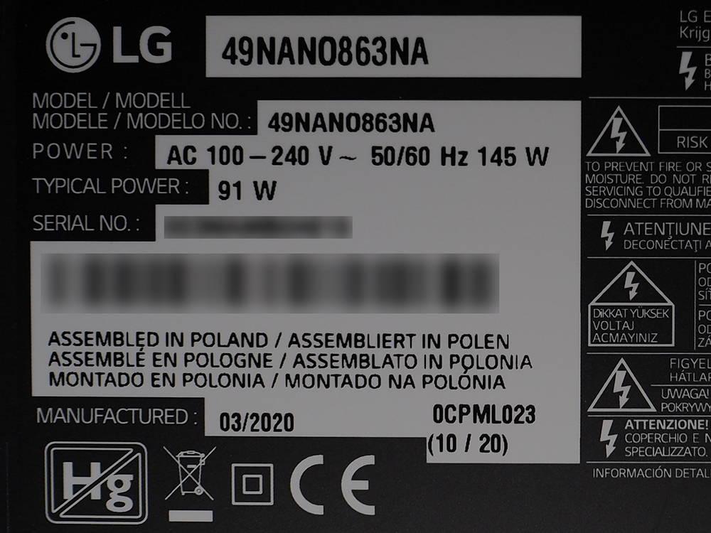 informacje o tv LG 49NANO863NA