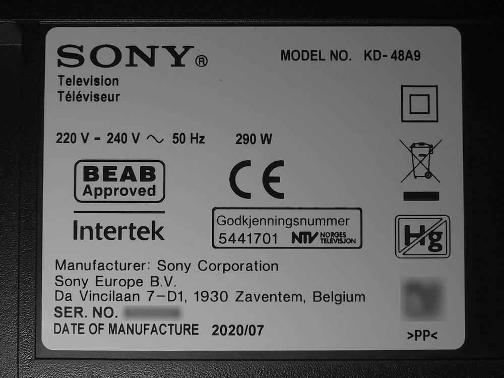 informacje tv Sony KD-48A9
