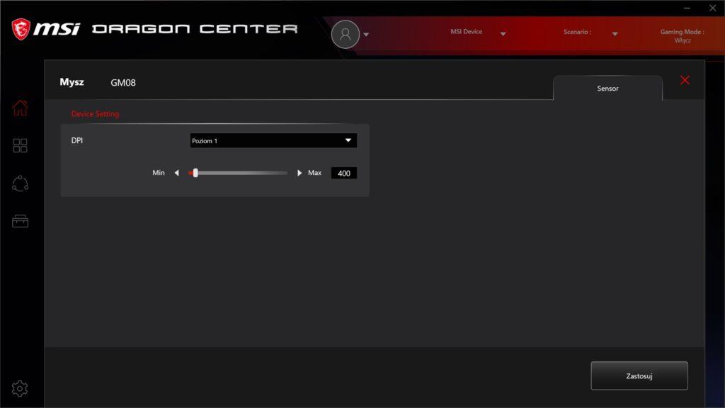 Dragon Center GM08 zmiana czułości