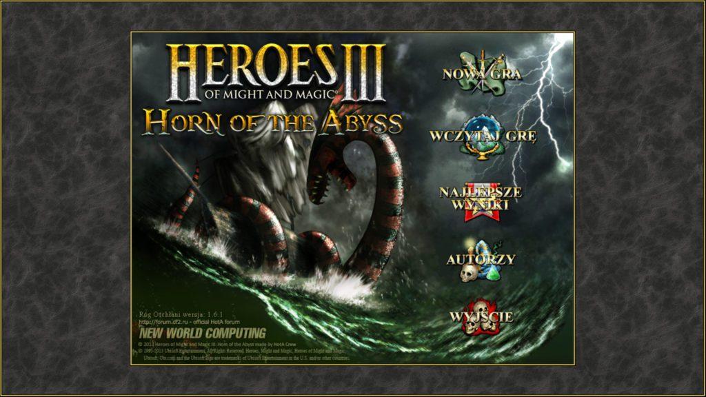 Heroes of Might & Magic 3 menu gry z dodatkiem HOTA
