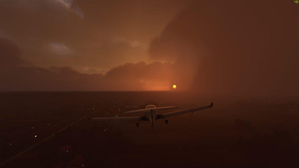 Screenshot Microsoft Flight Simulator 2020 zachód słońca i deszcz