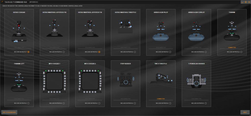 Oprogramowanie TARGET GUI ustawienia akcesoriów