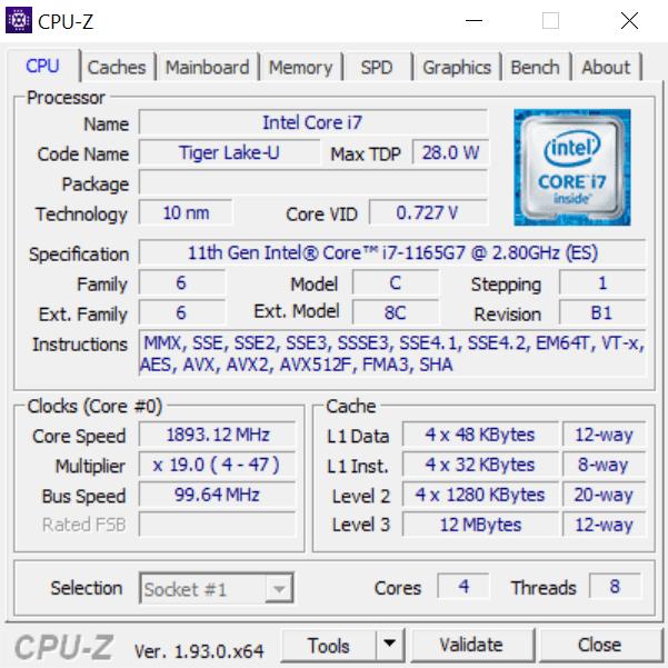 informacje o procesorze