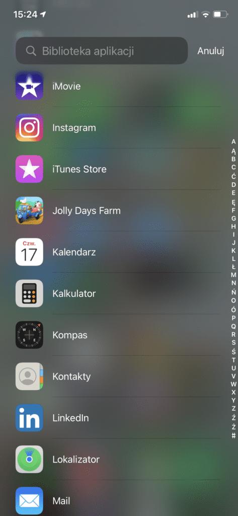 biblioteka aplikacji - alfabetycznie