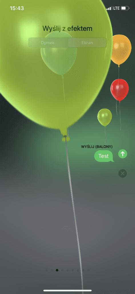 balony - efekty wizualne w iPhonie