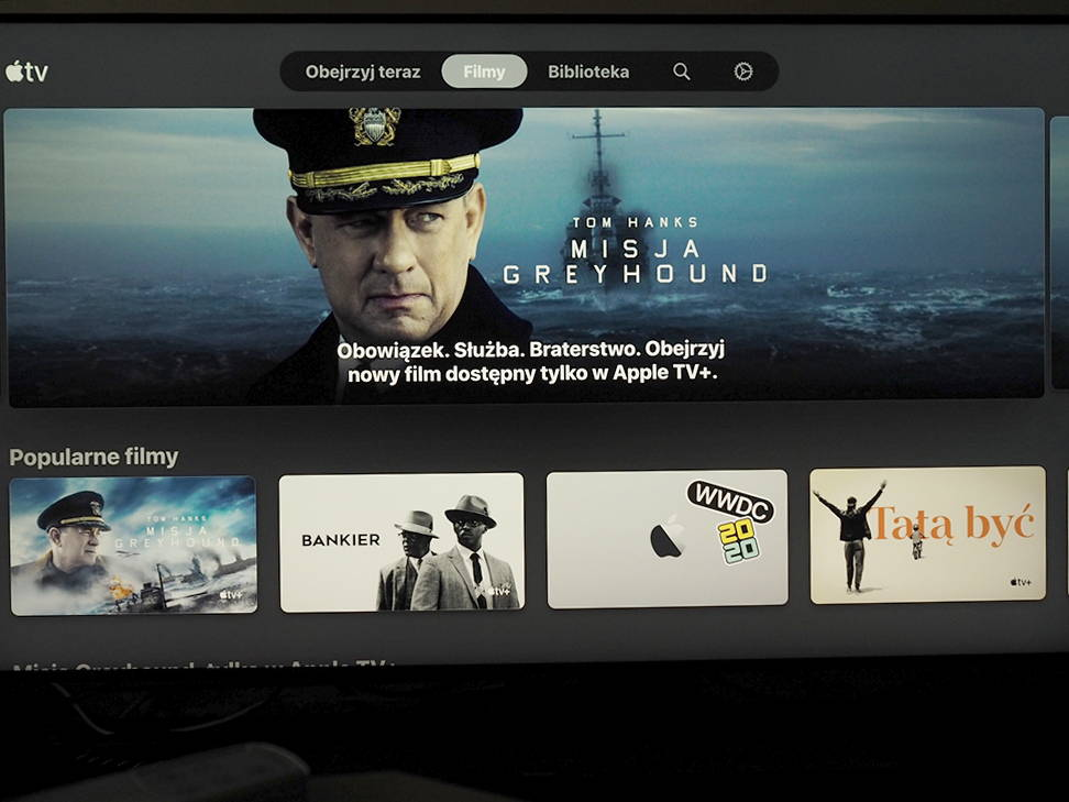 ekran powitalny aplikacji Apple TV