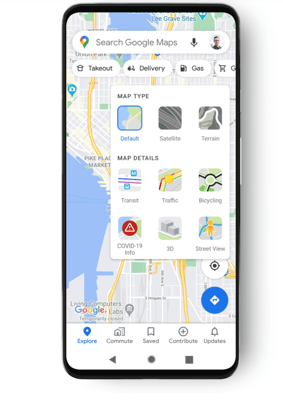 Google Maps filtr covid