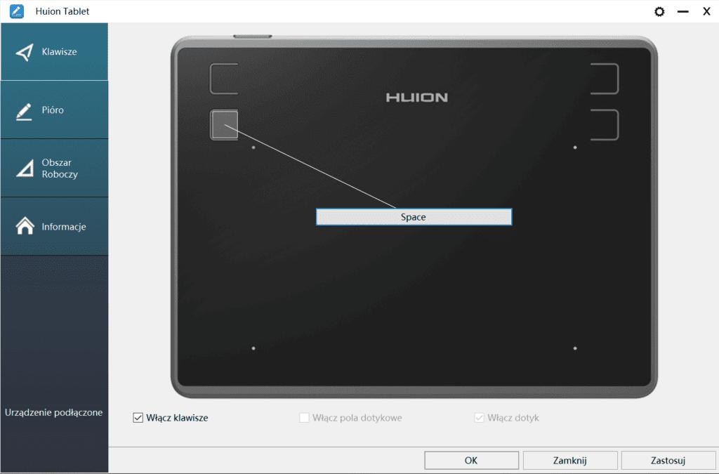 Huion H430P przyciski funcyjne
