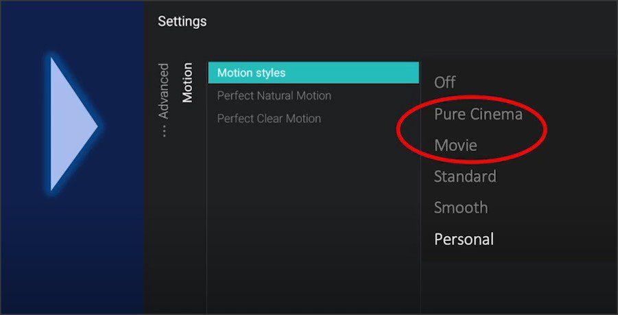 menu z dostępnymi nowymi trybami upłynniania ruchu dla telewizorów philips oled
