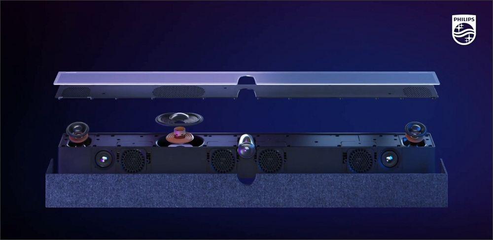 budowa soundbaru bowers & wilkins będącego elementem wyposażenia telewizorów philips z serii oled+