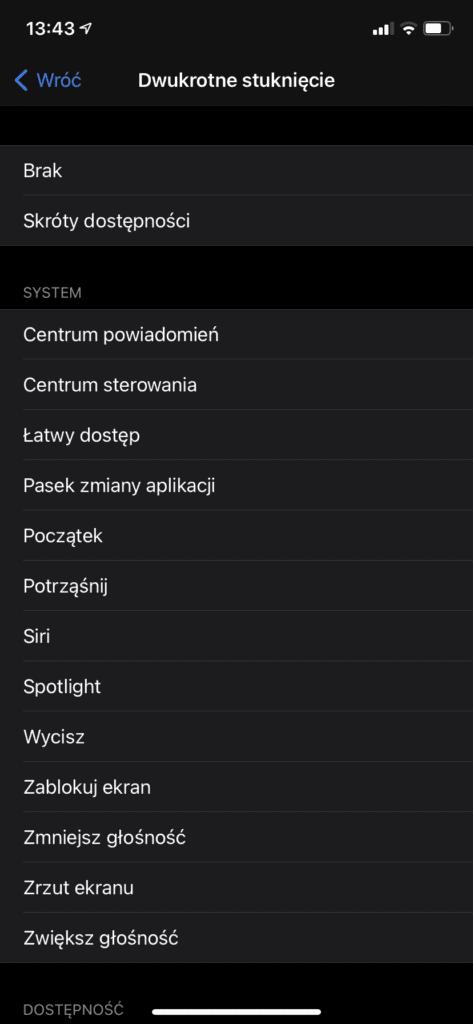 stuknij w ekran - funkcja iOS14
