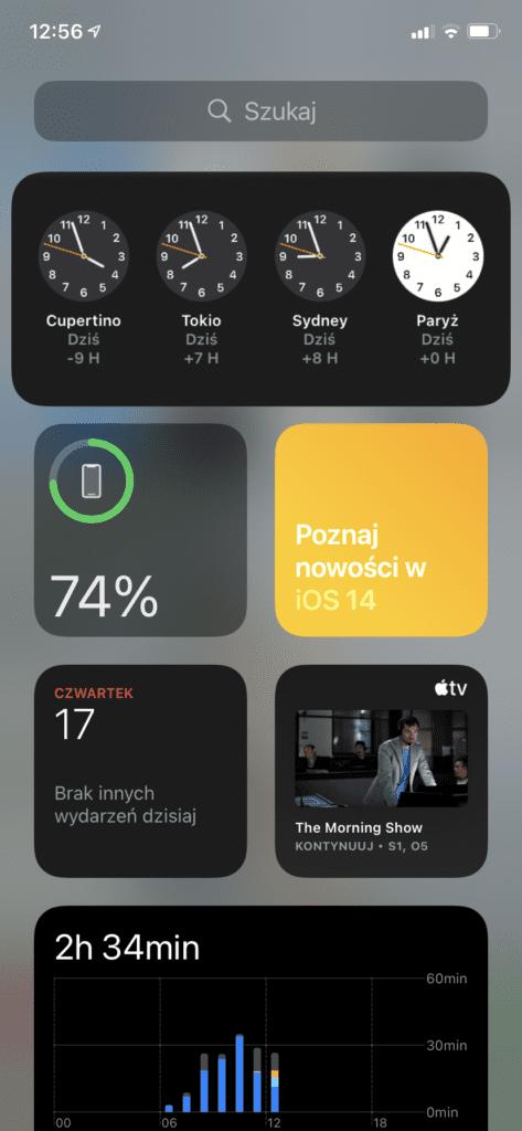 widok widżetów iOS14