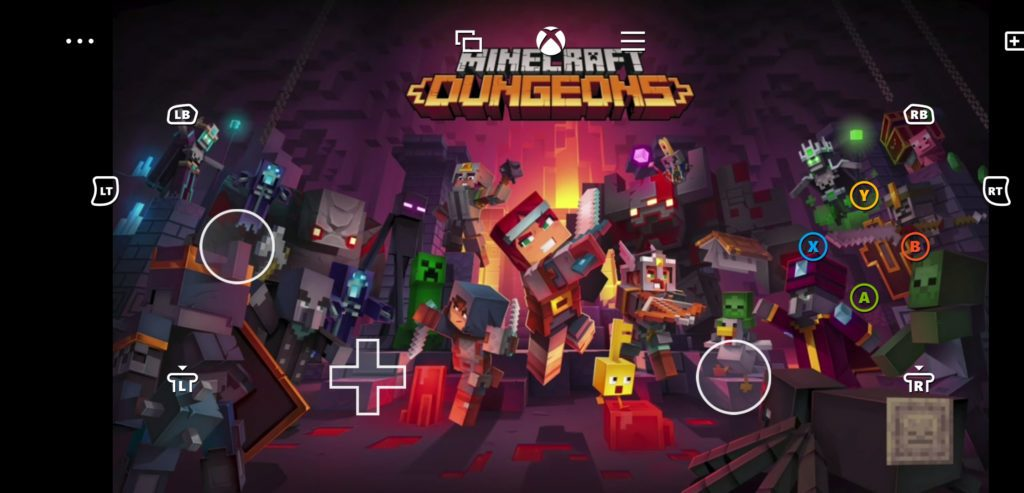 xCloud Minecraft Dungeon sterowanie dotykowe