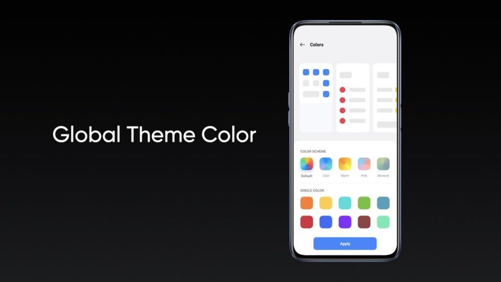 Realme UI 2.0 kolory systemu