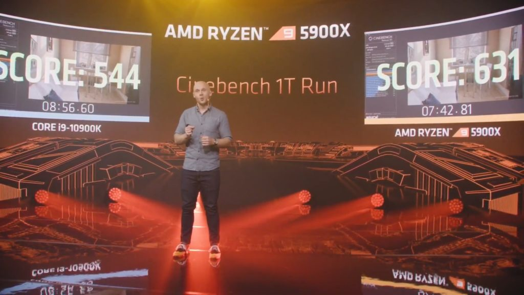 Intel Core i9-10900k vs Ryzen 9 5900X cinebench singlecore