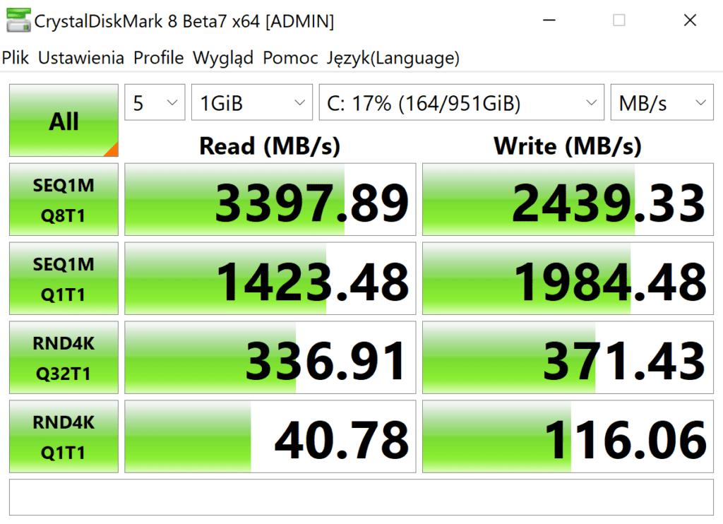 Dell Precision 7550 crytaldiskmark 8