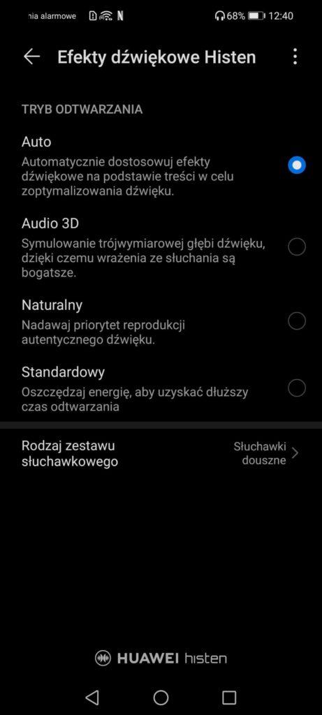 menu efekty dźwiękowe huawei histen