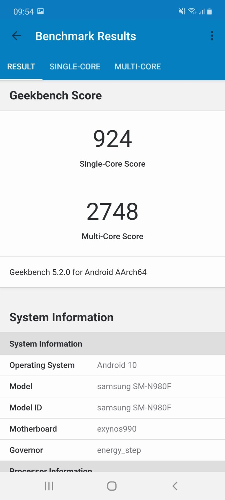 galaxy note 20 geekbench