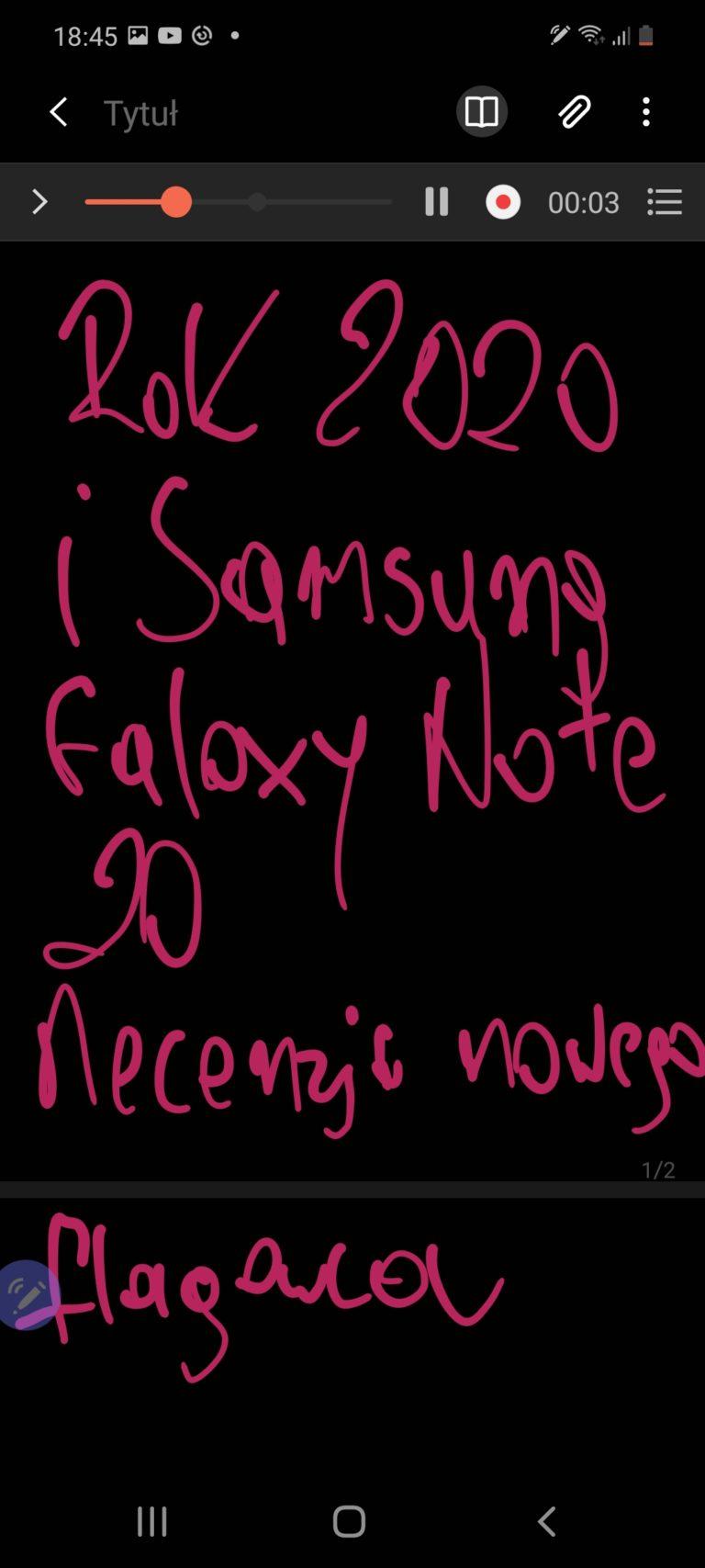 galaxy note 20 notatka nagranie