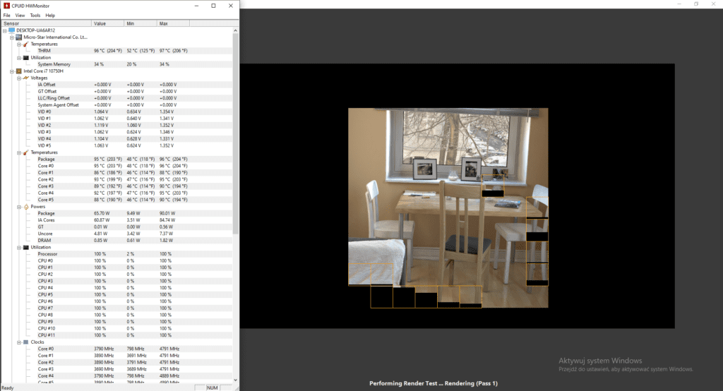 MSI GL75 Leopard HW Monitor i Benchmark R20