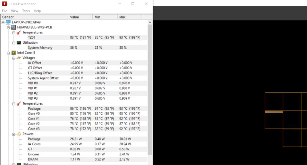 MateBook X 2020 HW Monitor