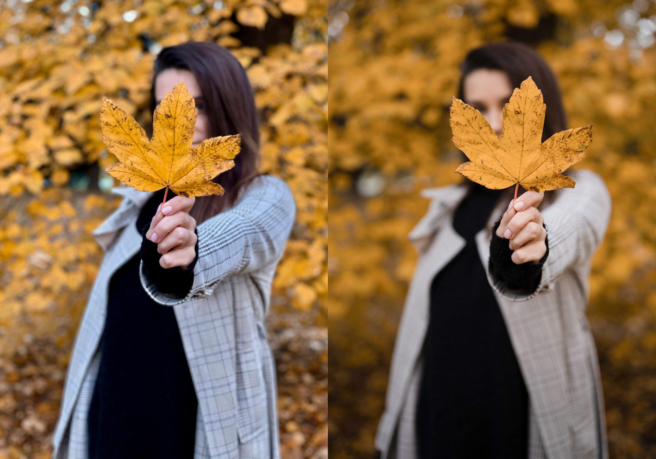 kobieta trzymająca liść