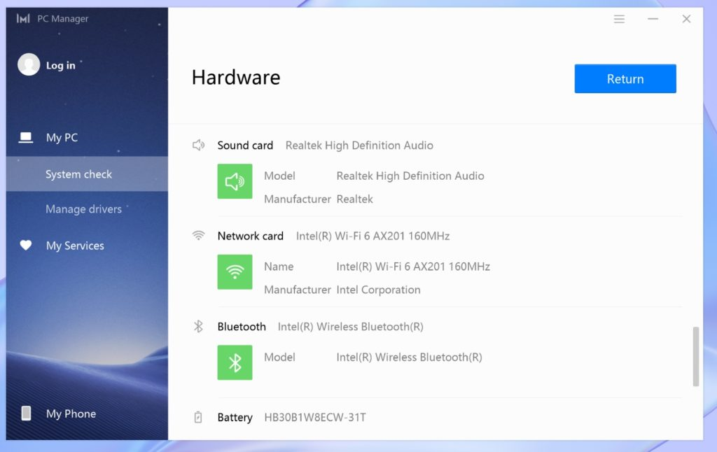 PC Manager MateBook X 2020 audio