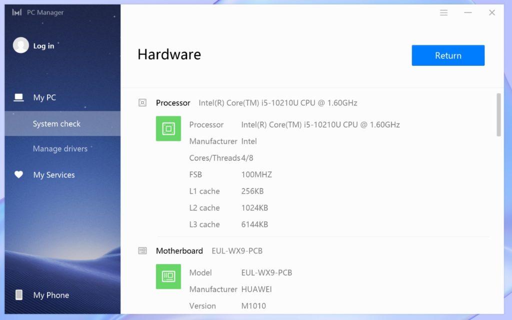 PC Manager MateBook X 2020 procesor