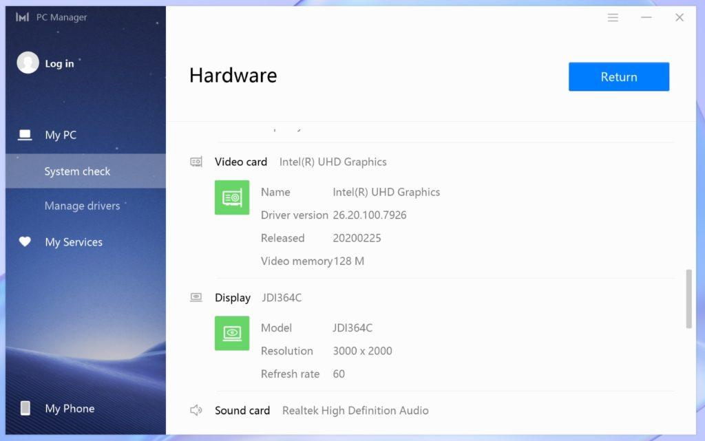 PC Manager MateBook X 2020 ekran