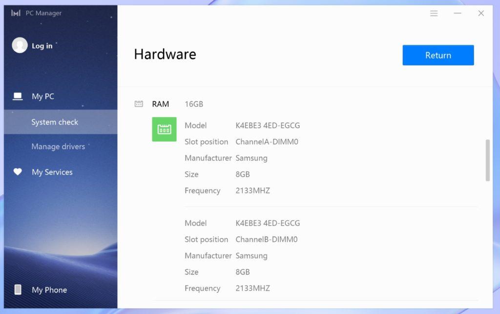PC Manager MateBook X 2020 RAM