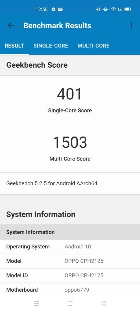 wynik benchmarku geekbench dla oppo reno4 lite, rezultat to 401 punktów