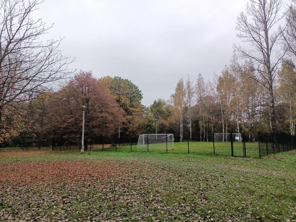 zdjęcia boiska w parku z jesiennym krajobrazem