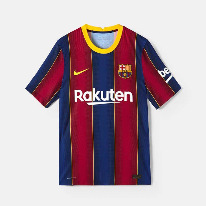 Rakuten TV na niebiesko-bordowej koszulce FC Barcelony