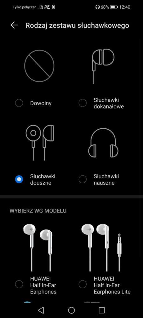 manu rodzaju zestawu słuchawkowego w huawei histen