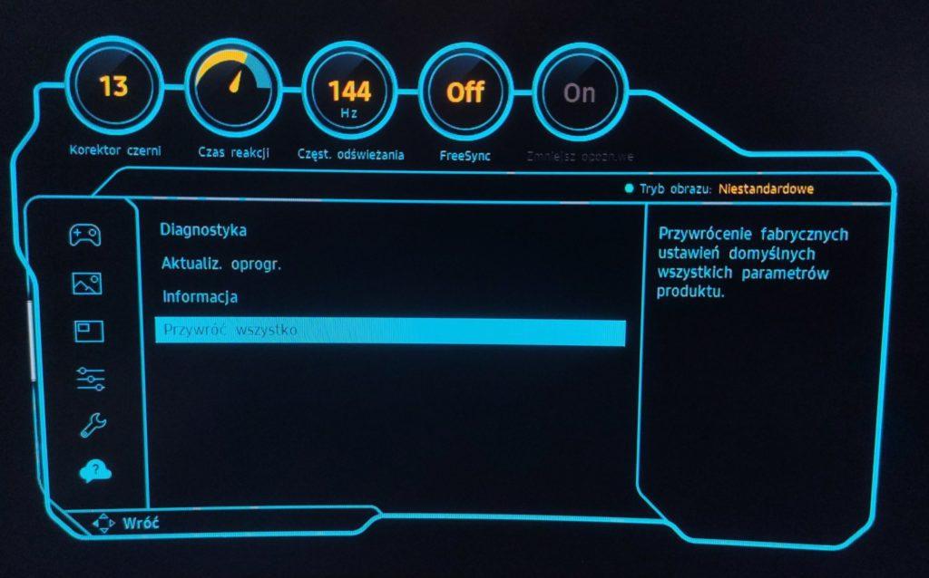 Samsung Odyssey C27G75TQSUX przywróć ustawienia