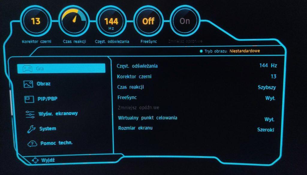 Samsung Odyssey C27G75TQSUX tryb gra