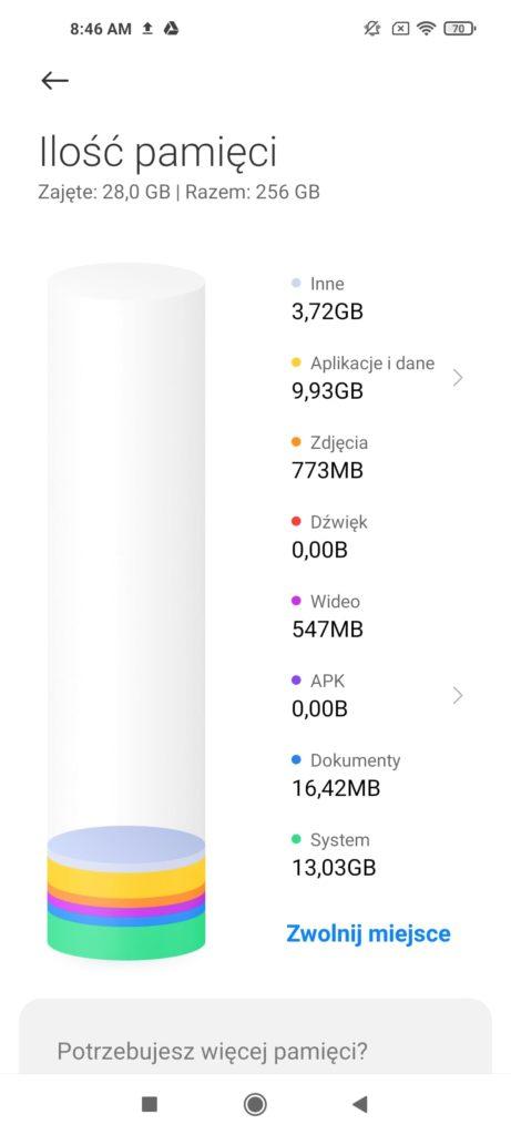 Xiaomi Mi 10T Pro miejsce na dysku
