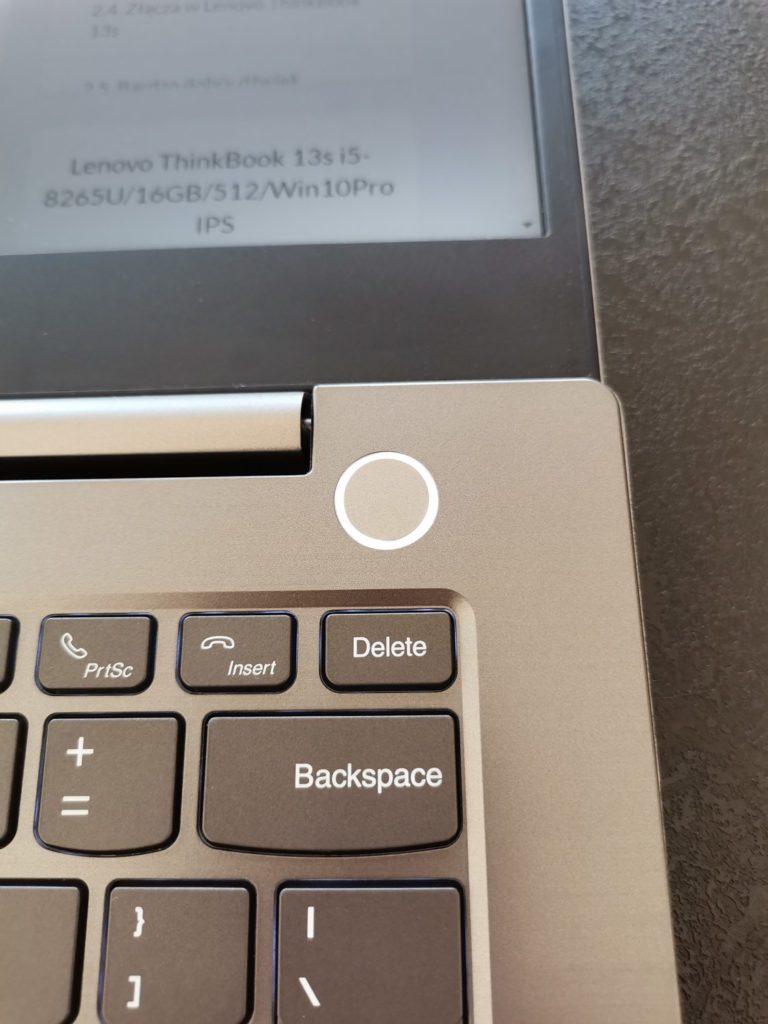 Lenovo ThinkBook 14 przycisk power on
