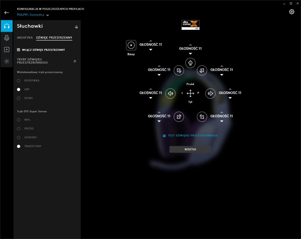 Logitech G HUB G733 ustawienia dźwięku przestrzennego w aplikacji