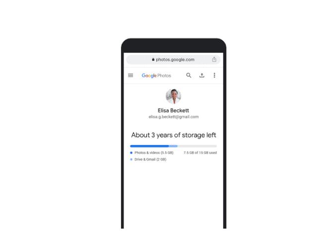 Google Zdjęcia przewidywany czas