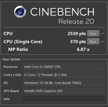 All-in-One HP 27 Cinebench R20