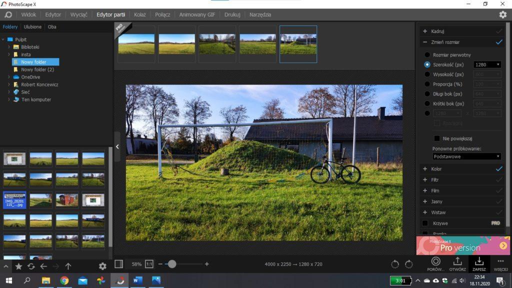 Jak zmienić rozdzielczość Photoscape