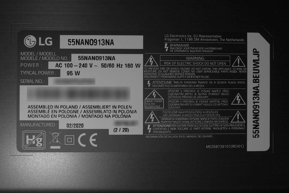 plakietka informacyjna z danymi testowanego telewizora lg 55nano913na