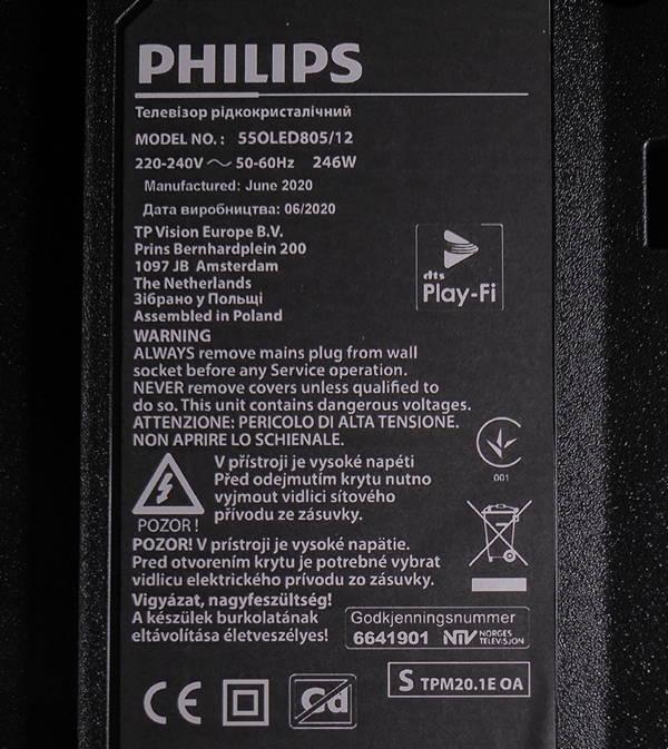 plakietka informacyjna telewizora philips 55oled805