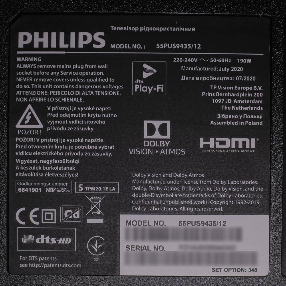 plakietka informacyjna telewizora philips 55pus9435