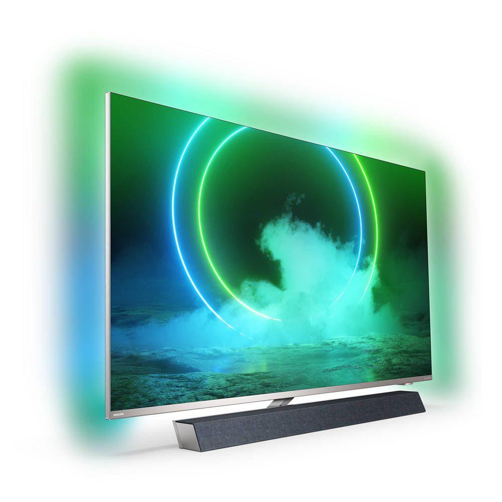 philips 55pus9435 z rozświetlonym ekranem, widziany pod kątem