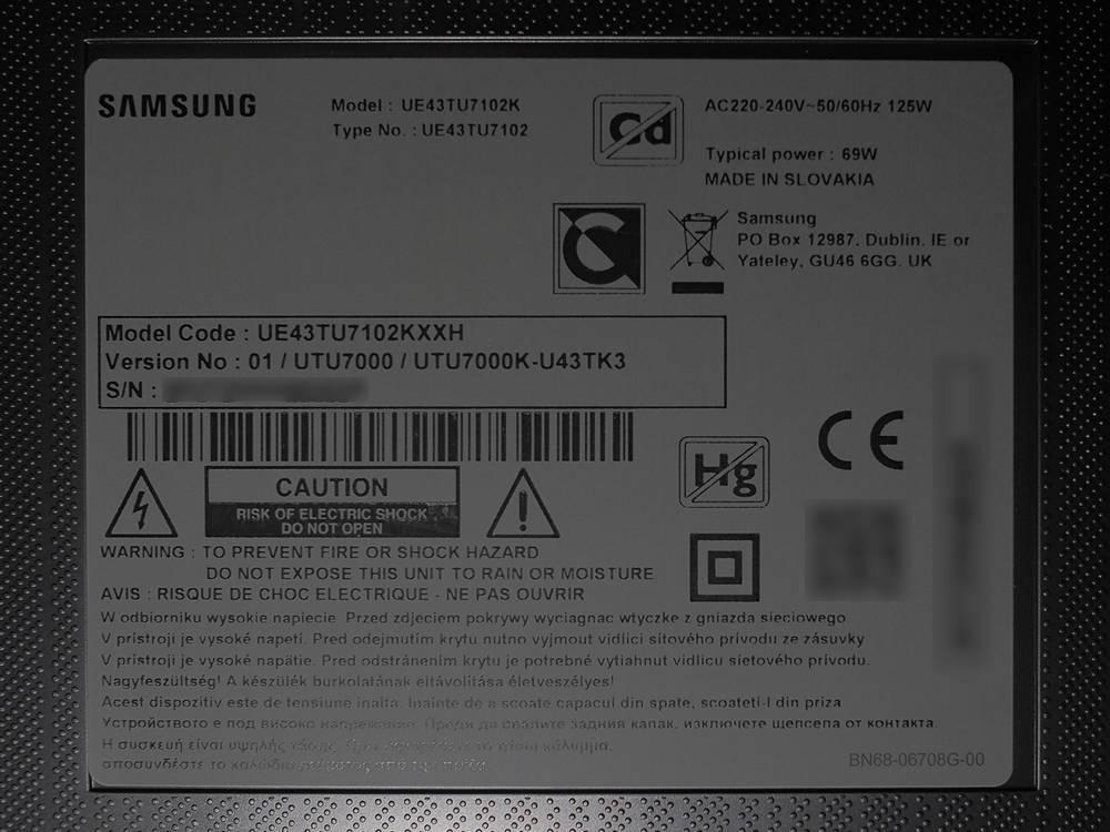 plakietka informacyjna testowanego telewizora 43tu7102